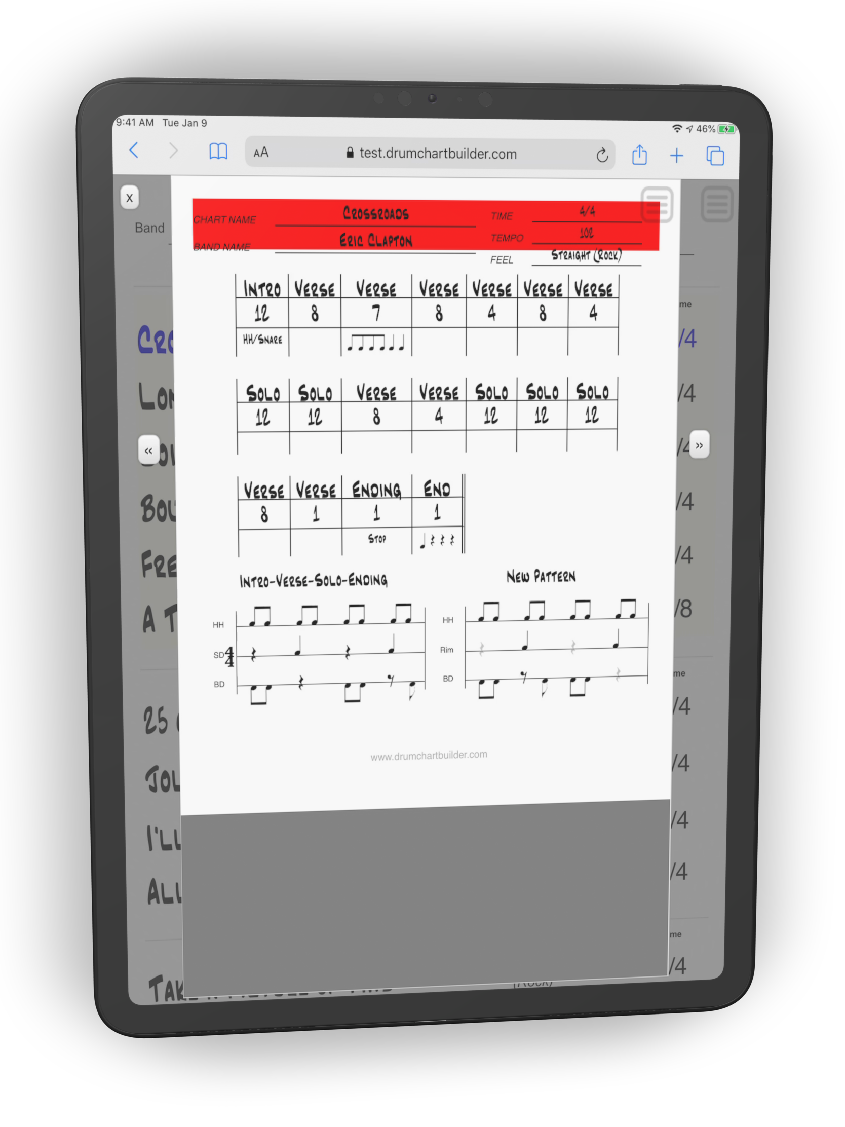 iPad white Chart in Viewer with Metronome
